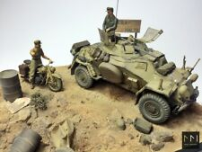 WW2 D.A.K Diorama - Sd.Kfz 222 + BMW 1:35 - built and painted