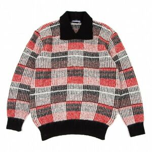 ISSEY MIYAKE MEN Blended Check With Collar Knit Sweater Size F(K-96238)