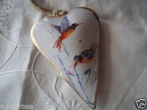 Vintage white and gold puffy hanging tin heart bird Christmas decoration