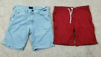 ZARA MAN Men's Zip Up Jeans Cotton Shorts | Blue & Red|  Size 32