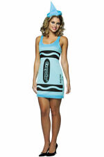 Rasta Imposta Sky Blue Crayola Crayon Women's Halloween Costume Size 4-10 NEW