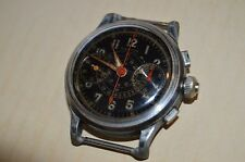 Vintage 3 Pusher late 1930s EASTON Chronograph Watch Black Military Dial Ticks