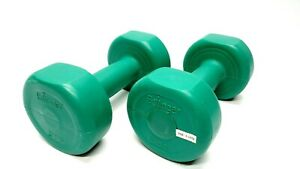 Vintage Bollinger 3 Pound Weights Dumbbells Set Green 3 LB Strength Training