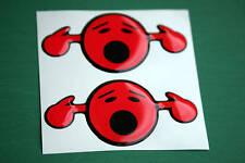 2 en dôme loud smiley autocollants rouge 75mm x 35mm
