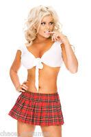Sexy School Girl Britney Uniform Fancy Tartan Dress Halloween Costume 8 10 12