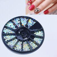 3D Acrylic Nail Art Tips DIY Decorations Glitter Rhinestones Gems Crystal Wheel*