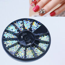 Wheel White Pearl Stone Rhinestones Beads 3D Tips Decor Phone Craft DIY Nail Art