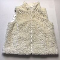 Coldwater Creek Ivory Faux Fur Full Zip Vest Size Medium A158