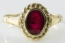 DAINTY 9K 9CT GOLD  INDIAN RUBY SOLITAIRE EDWARDIAN VINTAGE INS RING FREE SIZE