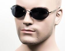 Oval Frameless Sunglasses Neo Matrix Style Look Frame Smoke Gunmetal 1077