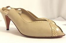 Bruno Magli Peep Toe Slingback Heels Shoes Taupe Leather Sz 10 B , Made in Italy