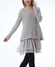 #312 Ladies Designer Size UK 18 Grey Crochet Layered Jumper Tunic Dress BNWT