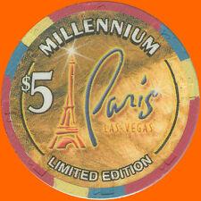 PARIS $5 1999 MILLENNIUM CASINO CHIP LAS VEGAS NV - FREE SHIPPING