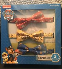 Paw Patrol Nickelodeon Bow Tie Set Of 3 0-24 Months, New In Box