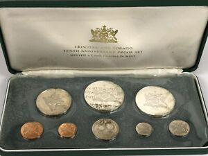1972 Trinidad & Tobago 8 Coin Proof Set w/ 2 Silver Coins. Complete Set w/ COA