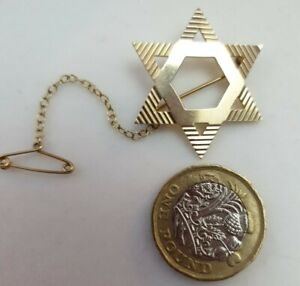 9CT GOLD LARGE HEAVY VINTAGE STAR OF DAVID BROOCH 4.55G NOT SCRAP 9K RELIGIOUS