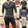 Men Cotton Muscle Tops Slim Fit Tee Long Sleeve V Neck T-Shirt Casual Blouse USA