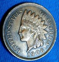 1906 Indian Head Cent / U.S. Coin EF  Full LIBERTY, Diamonds