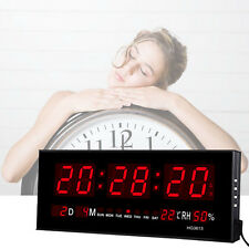 LED Digital Large Display Wall Desk Clock Alarm Calendar Temperature Humidity