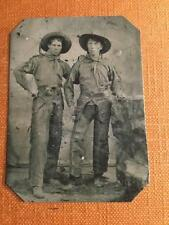 Two Western Cowboys with pistols in their belts tintype C339RP