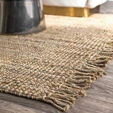 Rectangle Area Rag Natural Loop Jute Rag Rug Woven Fabric Floor Rug 2X3 Feet