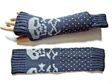 GRAY WARM KNIT SKULL ARM WARMERS fingerless gloves mittens goth punk charcoal Y3