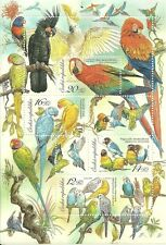 Czech - ANIMAL BREEDING: PARROTS stamp sheet new 2004