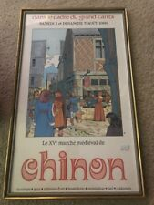 the XV medieval market of chinon - original French poster framed - very rare