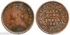 """RARE BRITISH INDIA """"VICTORIA QUEEN"""" 1862 """"1/2 ANNA"""" COPPER COIN"""