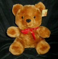 "12"" VINTAGE DIAMOND PLUSH TOYS BABY BROWN TEDDY BEAR W BOW STUFFED ANIMAL LOVEY"