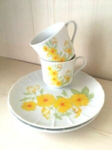 Vintage set of 2 Yellow flower scalloped edge snack/Luncheon cup/plate set Retro