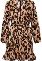 New Quiz Satin Leopard Print Frill Wrap Dress Stone / Black UK 16 RRP£29.99