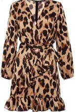 Quiz Satin Leopard Print Frill Wrap Dress Stone / Black UK 16