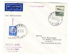HINDENBERG ZEPPELIN-TRIAL FLIGHT-FIRST MAIL DELIVERY-ON BOARD CANCEL-LUF