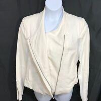 Blank NYC White Mesh Detail textured woven Crepe MotoJacket Women's Size XXLarge