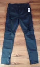 NWT $148 GUESS Men's Slim Fit Black Distressed Denim Zipper Hem Jeans Size 29x32