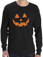 Orange Jack O' Lantern Pumpkin Face Halloween Costume Long Sleeve T-Shirt Funny