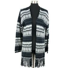 INC International Concepts Womens XL Fringed Open Front Sweater Jacket Snowflake