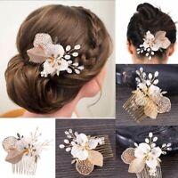 Women Lady Boho Wedding Rose Gold Leaf Color Bride Dance Hair Comb Head Decor