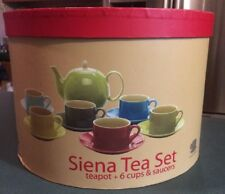 Siena Tea Set-13 Pieces-Teapot + 6 Cups & Saucers (Yedi Houseware) colorful-New