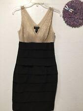 Women bra top dress size 6 beige black party deep V sexy En Focus Studio 183