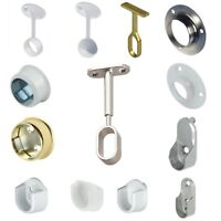 Rail End Center Supports Brackets OVAL or ROUND Wardrobe Rails Poles ROD SOCKETS