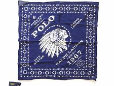 New Ralph Lauren Polo 100% Cotton Indian Chief & Logo Indigo Blue Scarf Bandana