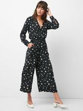 Gap Long Sleeve Wrap Jumpsuit, sz M Medium Spring 2018 Black Floral