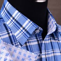 Clearance Blue Checkered Flannel Formal Dress Shirt Business Untucked Style