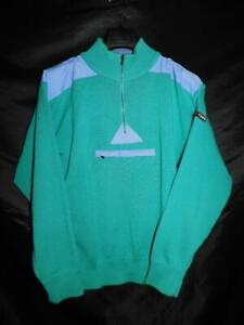 Vintage 80s Hard Corps L Men Aqua Green Purple Wool Sweater Zip Mock Neck Pocket