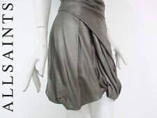 STUNNING WOMENS ALL SAINTS HOXIE DOMORE METALLIC LEATHER ASYMMETRIC SKIRT 8 £255