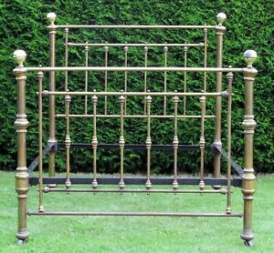"""Victorian Brass with Iron Standard Double ( 4' 6"""" wide ) Bed"""