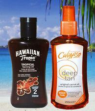 HAWAIIAN TROPIC SPF 2 & CARROT OIL SPF 0 ZERO FACTOR BRONZING OIL TANNING LOTION