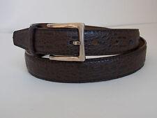 M Size 34-36 Men's Dark Brown Crocodile Print Genuine Leather Dress Belt